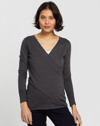 Angel Maternity Women's Grey Long Sleeve Tops - Merino Wool Knit Long Sleeve Top - Size One Size, XS at The Iconic