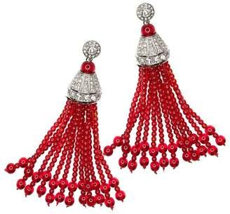 Kenneth Jay Lane Crystal And Ruby Tassel Pierced Or Clip Earrings