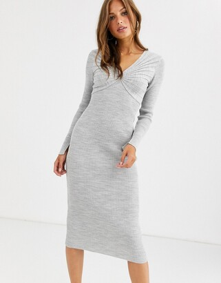 Asos Design DESIGN pleat detail knit midi dress with deep v-Grey
