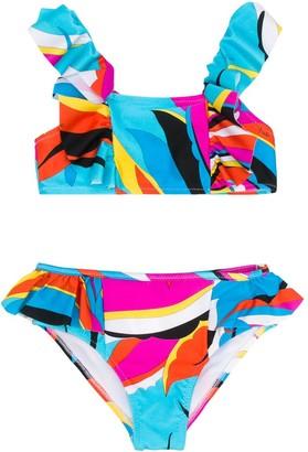 Emilio Pucci Junior Abstract Print Bikini Set