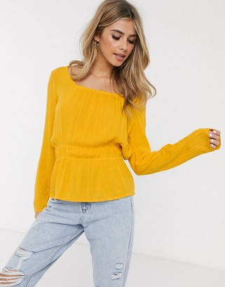 Pimkie square neck shirred waist blouse in mustard-Yellow