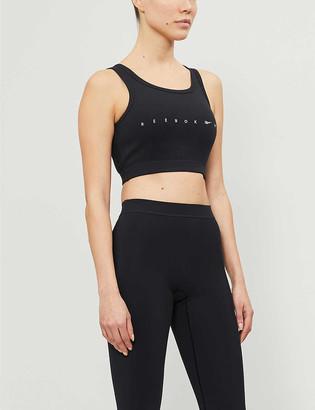 Reebok x Victoria Beckham Branded stretch-cotton knitted crop top