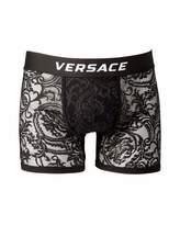 Versace Men's Lace Mesh Long Boxer Briefs