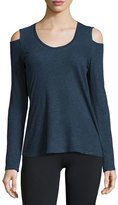 Lanston Cold-Shoulder Long-Sleeve Athletic Tee, Navy