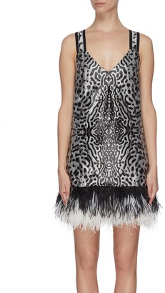 Proenza Schouler Leopard jacquard feather hem cross back dress