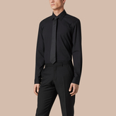 Burberry Modern Fit Stretch Cotton Shirt , Size: 18, Black