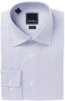 David Donahue Mini Check Trim Fit Dress Shirt