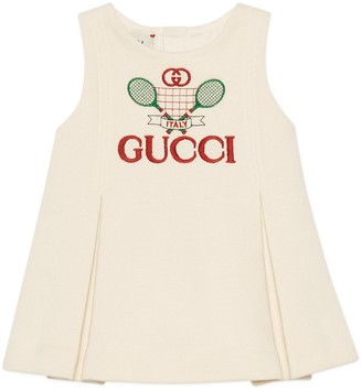 Gucci Baby cotton dress with Tennis embroidery