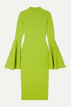 SOLACE London Giana Stretch-knit Midi Dress - Light green