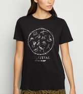 New Look Celestial Metallic Horoscope Slogan T-Shirt