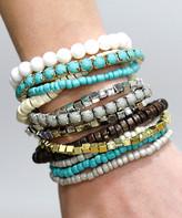 Funky Monkey Women's Bracelets Turquoise, - Light Blue & White Stretch Bracelet Set