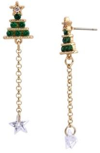 Betsey Johnson Cubic Zirconia Christmas Tree Linear Earrings