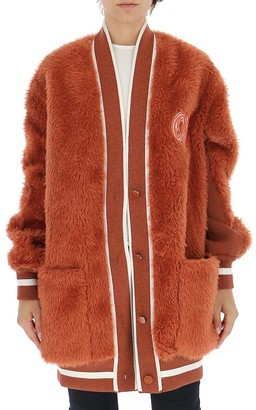 Off-White Off White Fur Effect Logo Patch Cardigan