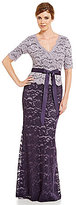 Adrianna Papell Surplice 3/4 Sleeve Lace V-Neck Belted Gown