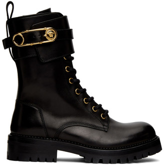 Versace Black Medusa Safety Pin Boots