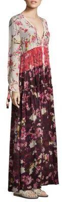 Rococo Sand Floral Silk Floor-Length Dress