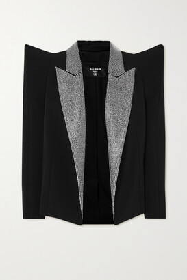 Balmain - Crystal-embellished Crepe Blazer - Black