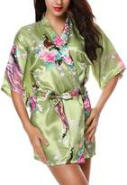 Avidlove Women's Robes Peacock and Blossoms Silk Nightwear Short Style