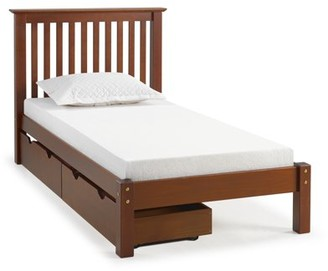 Alaterre Barcelona Twin Bed with Storage Drawers, Chestnut