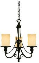 Westinghouse 69000 Hearthstone Three-Light Chandelier, Burnished Bronze Patina Finish with Burnt Scavo Globe
