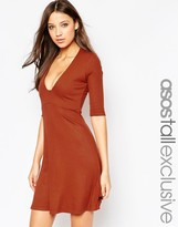 ASOS Tall ASOS TALL Plunge Square Front Mini Skater Dress