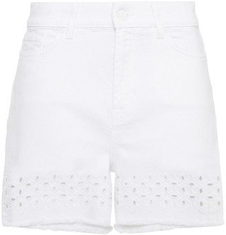 7 For All Mankind Frayed Cotton-blend Broderie Anglaise Shorts
