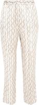 Isabel Marant Sonia Printed Hammered Silk-satin Tapered Pants - Ecru