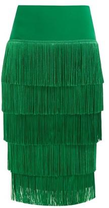 Norma Kamali Tiered-fringe Stretch-jersey Pencil Skirt - Green