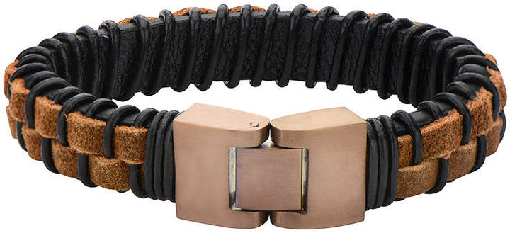 JCPenney FINE JEWELRY Mens Rope and Black Leather Bracelet