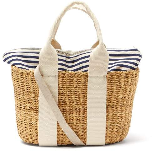 Muun Caba Mini Canvas And Woven Straw Bag - Womens - Navy Multi