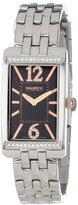 Haurex Italy Women's 2S391DNH Primula Stainless Steel Rectangular Black Sunray Dial Swarovski Watch