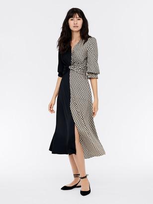 Diane von Furstenberg Michelle Silk Crepe de Chine Midi Dress