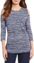 Allison Daley Petites Cold-Shoulder Melange Jersey Tunic