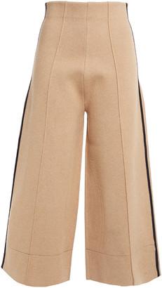 Victoria Victoria Beckham Cropped Striped Stretch-knit Wide-leg Pants