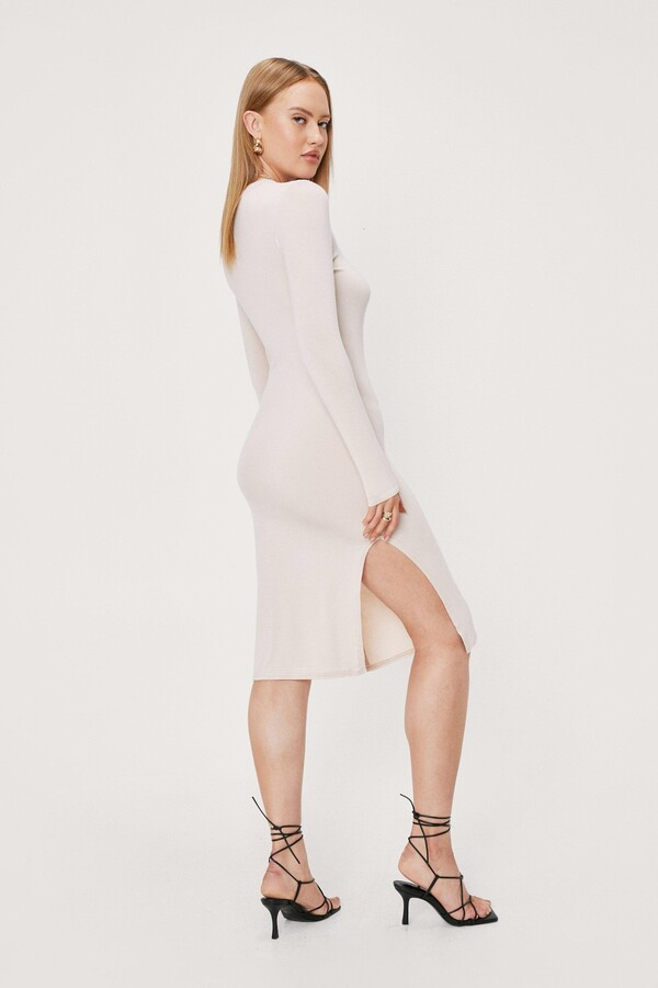 Thumbnail for your product : Nasty Gal Womens Slinky Split Hem Fitted Midi Dress - Beige - 14