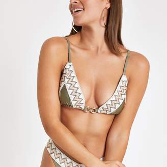 River Island Womens Khaki elastic trim triangle bikini top