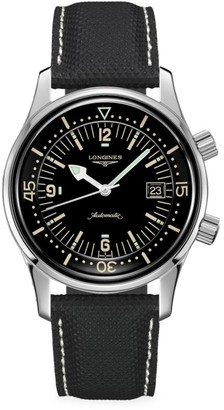 Longines The Legend Diver Automatic Leather-Strap Watch