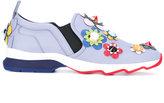 Fendi flower appliqué slip-on trainers - women - Calf Leather/Leather/rubber - 39.5