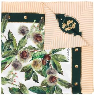 Dolce & Gabbana Chestnut Print Silk Scarf