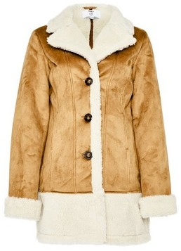 Dorothy Perkins Womens **Tall Camel Long Shearling Coat