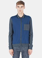 Lanvin Men's Mixed Panel Zipped Jacket In Blue And Grey