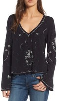 Hinge Women's Embroidered Bell Sleeve Top