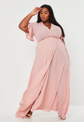 Missguided Size Rose Crepe Wrap Front Maxi Dress