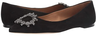 Tory Burch Crystal Buckle Flat (Perfect Black) Women's Shoes