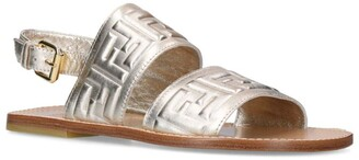 Fendi Kids Metallic Leather Monogram Sandals