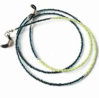 Tillylovesboo Womens Beaded Skinny Glasses Chain Teal Lime 30 inches