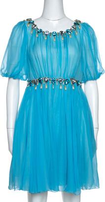 Dolce & Gabbana Blue Silk Chiffon Crystal Embellished Dress M