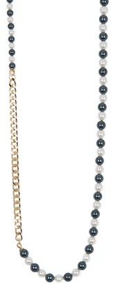 Carolee Two-Tone Imitation Pearl & Curb Chain Necklace