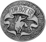 Buckle Rage Adult Mens Cowboy Up Rodeo Ornate Ribbon Belt Buckle Oval