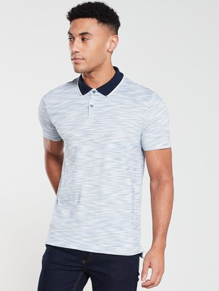 Very Tipped Textured Polo Shirt - Blue/White